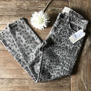 Current/Elliott The Stiletto Grey Leopard Jeans